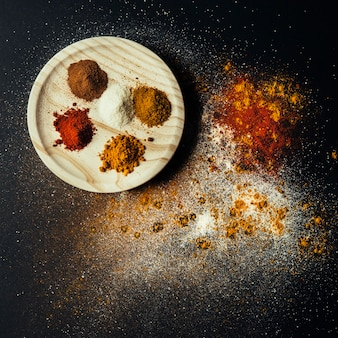 Top view of oriental spices