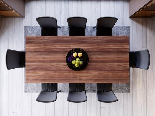 다 이닝 룸에서 식탁을 통해 상위 뷰입니다. 나무와 나무 테이블에 세라믹 접시 장식입니다. 부드러운 빛 색상. 디너 룸 세트입니다. 작은 과일 장식. 3d 렌더링