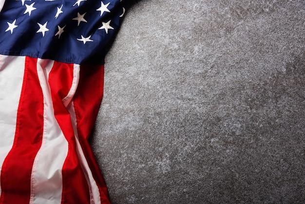 Вид сверху над головой америки флаг соединенных штатов