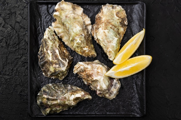 Top view of oysters with lemon slices