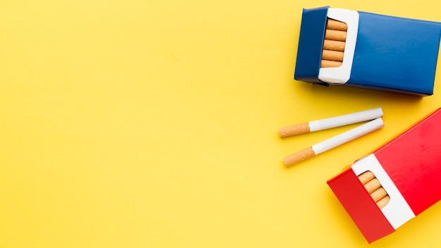 Top view packs of cigarettes