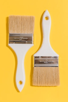 Top view painting brushes