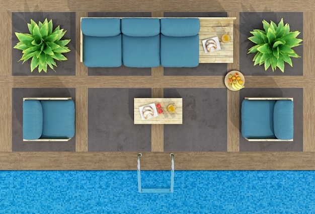 Top view of pallet sofa by the pool