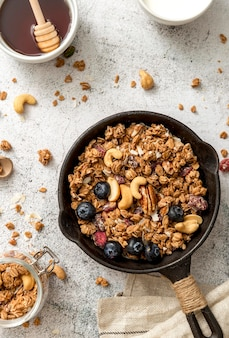 Top view pan with delicious granola