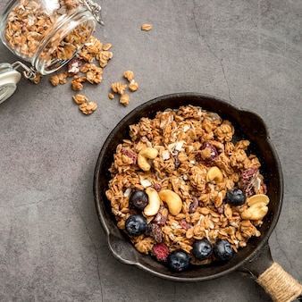 Top view pan with delicious homemade granola