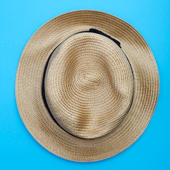 Top view panama hat on white background