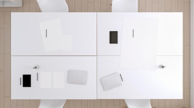 Бумага и устройство, вид сверху на столе