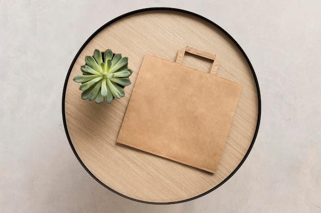 Spazio copia sacchetto di carta vista dall'alto