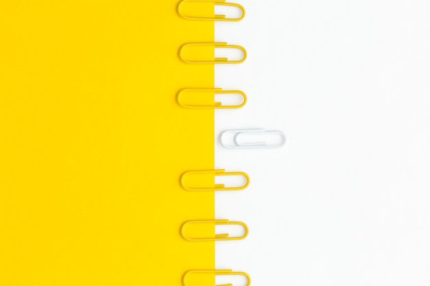 Top view paper clip collection aligned