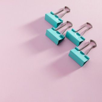 Top view paper clips with copy space