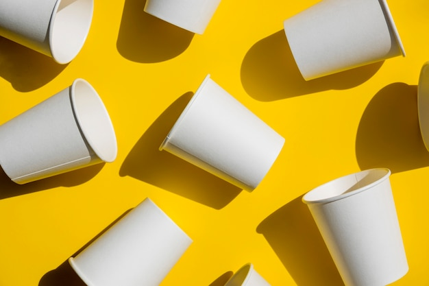 Top view paper coffee cups