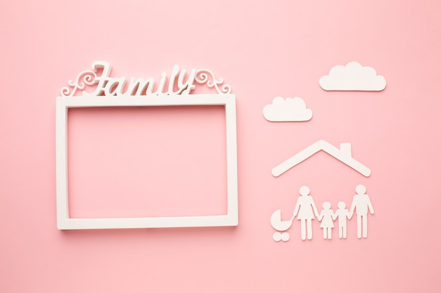 Top view paper cut family with frame concept