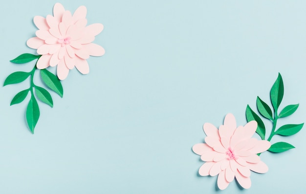 Top view of paper spring flowers