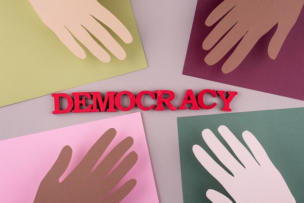Top view paper style democracy composition