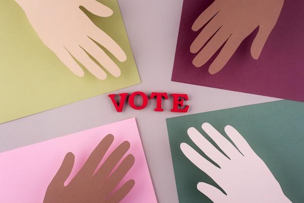 Disposizione di voto in stile carta vista dall'alto