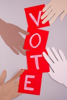 Assortimento di voto in stile carta con vista dall'alto