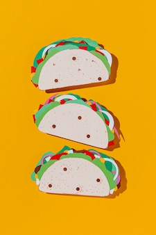 Top view paper tacos arrangement