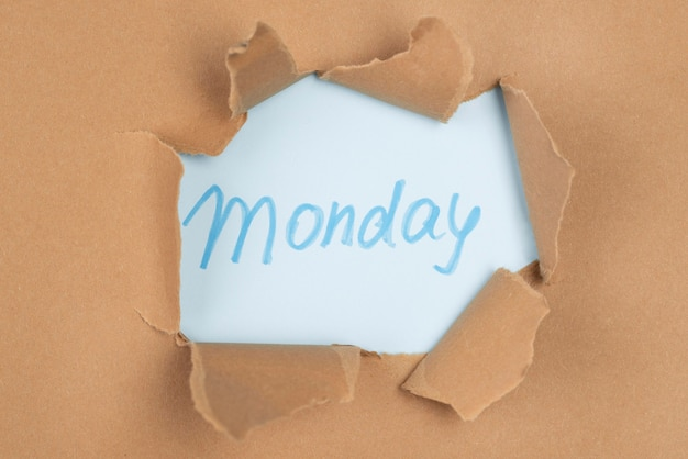 Top view of paper tear with monday
