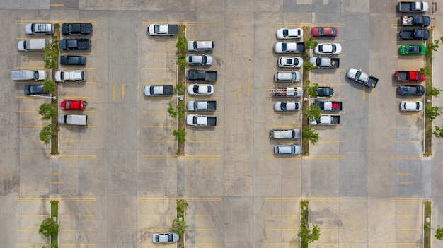 The top view of the parking lot taken with the drones