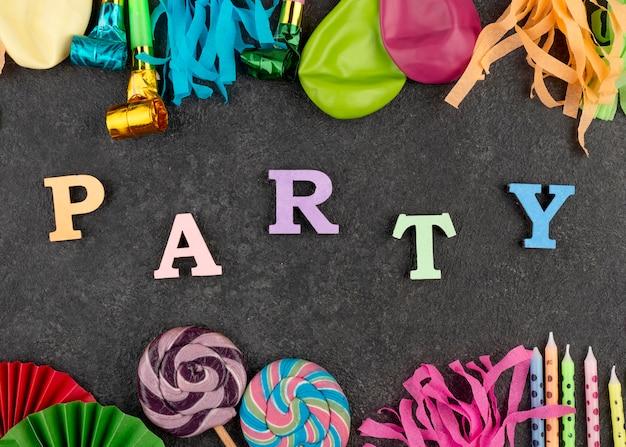 Расположение элементов вечеринки вид сверху
