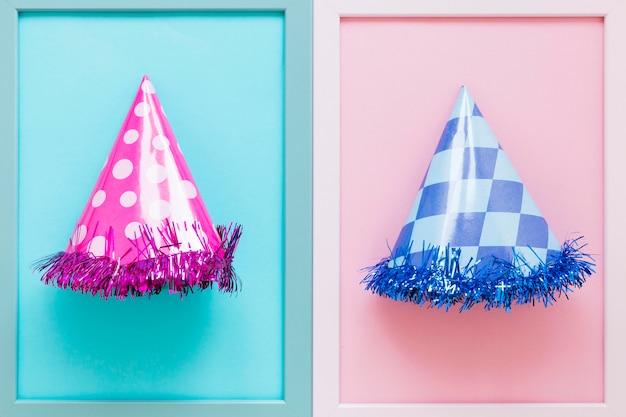 Top view party hats arrangement