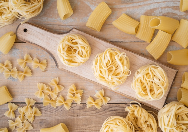 Top view pasta in different shapes