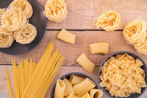 Top view pasta variety in shape and sizes