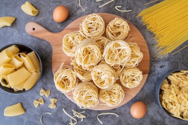 Top view pasta variety