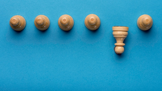 Top view of pawns with copy space