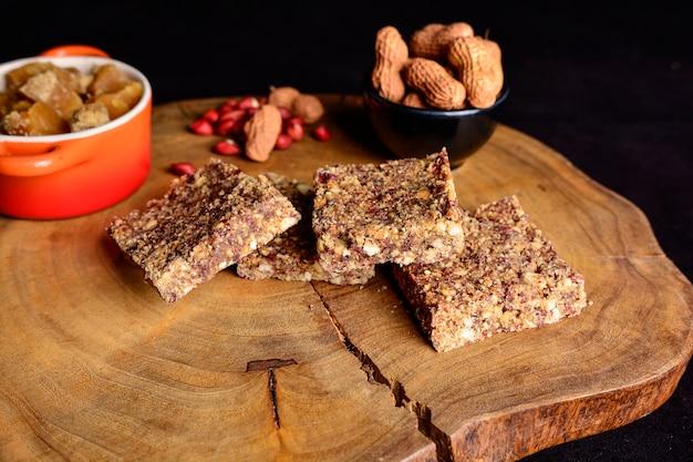 Top view of peanut brittle dessert
