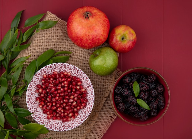 Top view of peeled pomegranate on a plate with apples and blackberries with leaf branches on a red surface