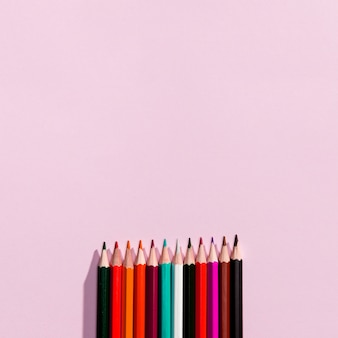 Top view of pencils with copyspace