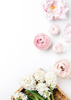 Top view of peonies flowers copy space concept background with space for text