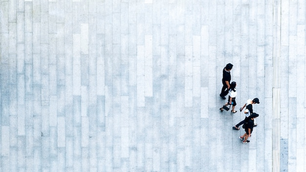 Top view of people walk on business pedestrian street in city.