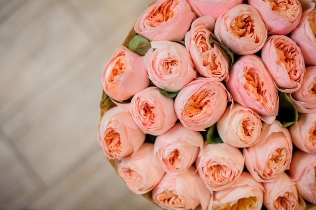 Top view photo of bouquet of gorgeous pink ranunculus