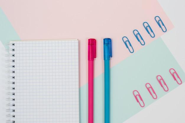 학 용품의 상위 뷰 사진입니다. 파란색과 분홍색 배경에 두 개의 펜과 종이 클립이있는 열린 나선형 메모장 세트
