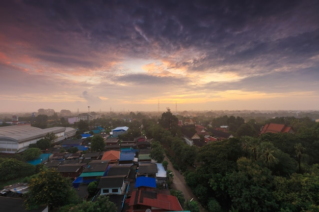Top view of phra mahathat temple the buddhist temple and  ratchaburi cityscape at ratchaburi province thailand