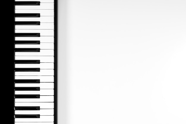 Top view to piano keyboard on white background