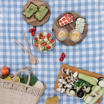 Top view of picnic basket with healthy vegan sandwiches on blue checkered blanket in park