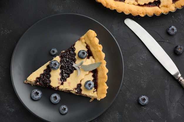 Top view pie with blueberries