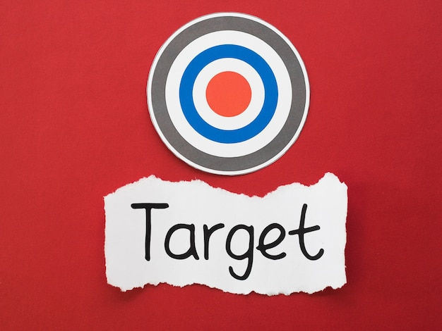 Top view of piece of paper with circular target