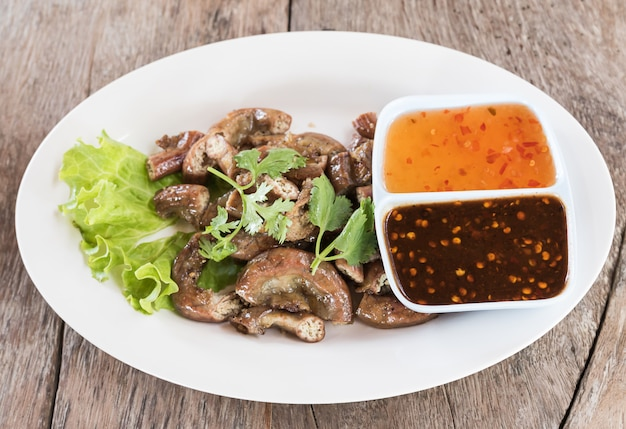 Top view pig's intestines grilled thai style food