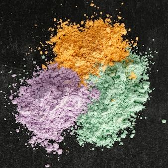 Pigmenti in polvere vista dall'alto