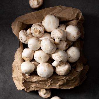 Top view pile of mushrooms
