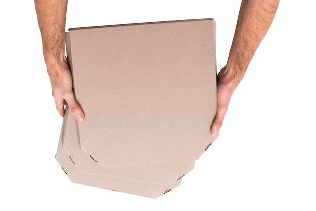 Вид сверху куча коробок с пиццей