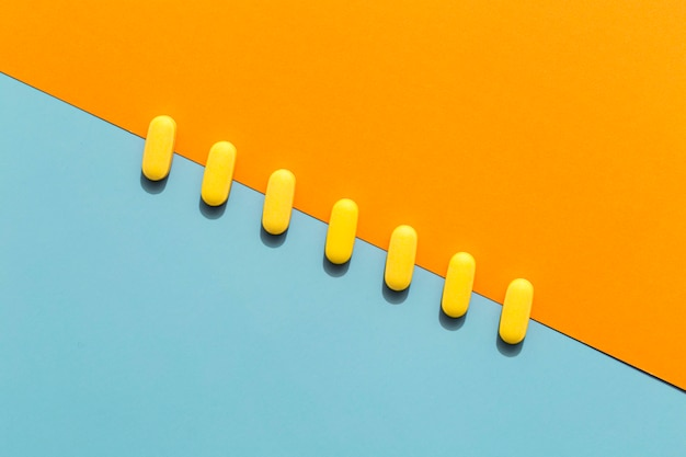 Top view of pills in a diagonal row