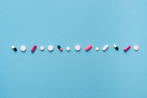 Top view of pills in row