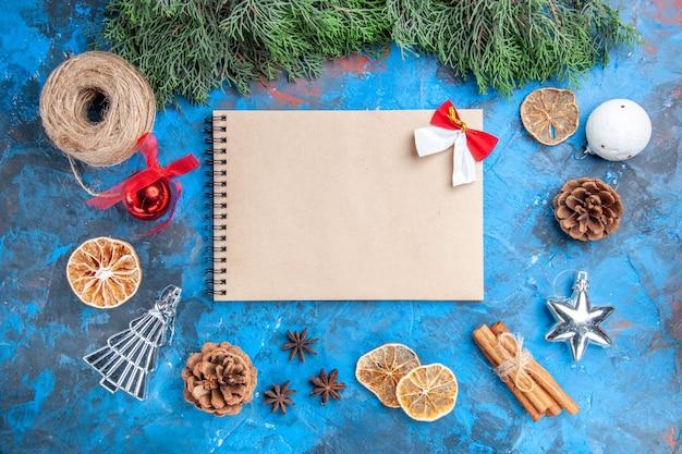 Vista dall'alto rami di pino filo di paglia bastoncini di cannella fette di limone essiccate semi di anice un quaderno su superficie blu-rossa