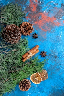 Top view pine tree branches with cones cinnamon sticks anise seed dried lemon slices on blue-red surface