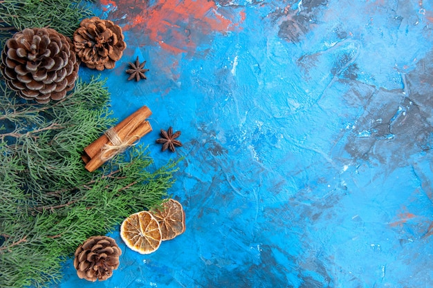 Top view pine tree branches with cones cinnamon sticks anise seeds dried lemon slices on blue-red background with copy place